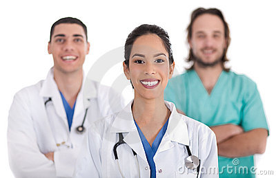 Ethnic doctor with collegues