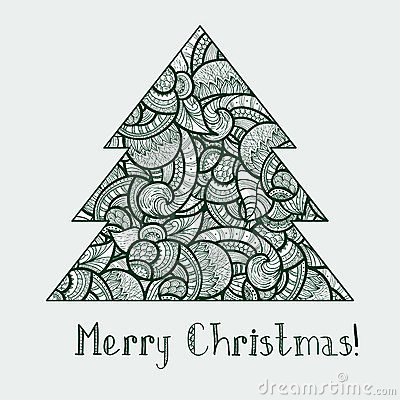 Ethnic doodle fir tree