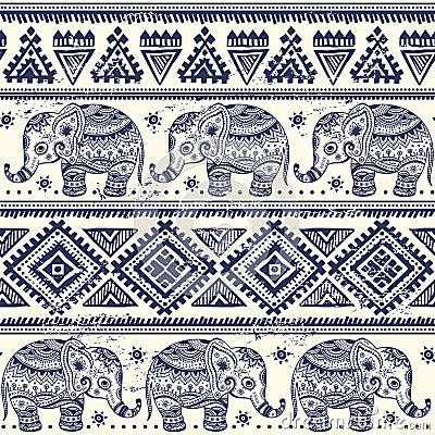 Free Ethnic Elephant Seamless Stock Image - 35461131