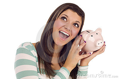 Ethnic Female Daydreaming, Holding Pink Piggy Bank