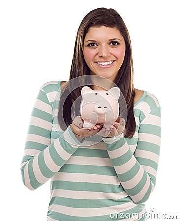 Ethnic Female Holding Piggy Bank on White
