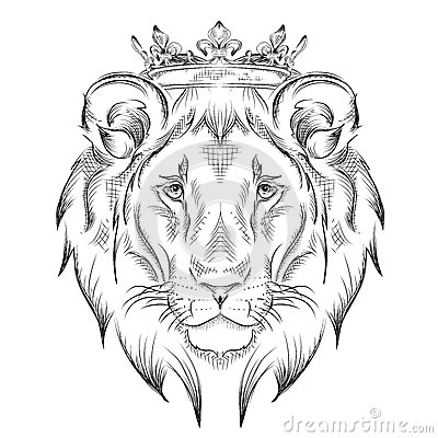 Ethnic Hand Drawing Head Of Lion Wearing A Crown Totem Tattoo
