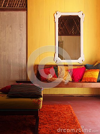 Ethnic Interior, old Malay house with cat