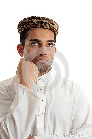 Ethnic man thinking brainstorming