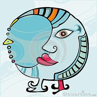 Ethnic Moon. design element