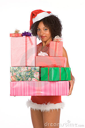 Ethnic Mrs Santa with pile of Christmas presents