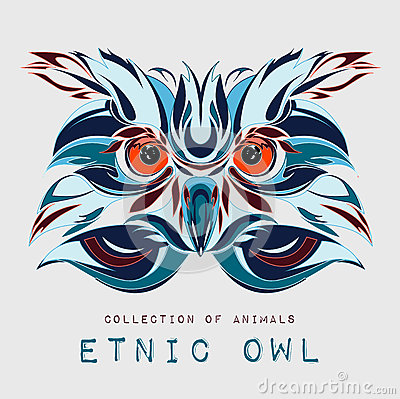 Ethnic patterned head of owl on the grey background / african / indian / totem / tattoo design. Use for print, posters, t-shirts. Vector Illustration