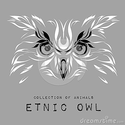 Ethnic patterned white head of owl on the grey background / african / indian / totem / tattoo design. Use for print, posters, t-sh Vector Illustration