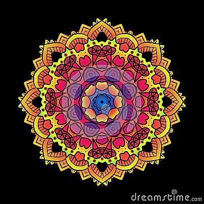 Free Ethnic Psychedelic Fractal Mandala Vector Meditation Looks Like Stock Image - 81218261
