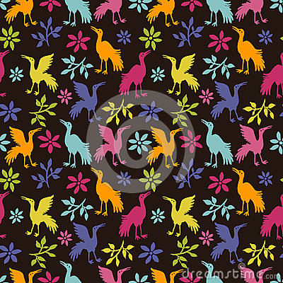 Ethnic seamless pattern with cranes
