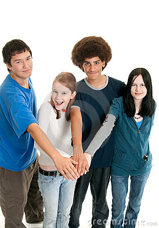 Ethnic teen teamwork