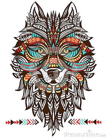 Ethnic totem of a wolf. Indian wolf. Vector Illustration