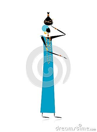 Ethnic woman with jug