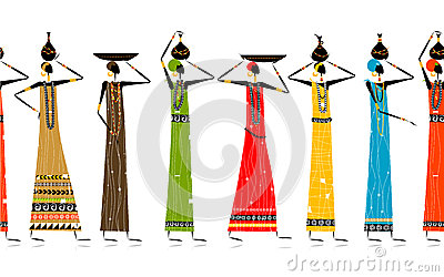 Ethnic women with jugs, seamless background