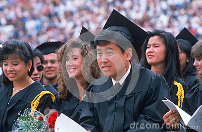 Ethnically diverse Univsersity graduates Editorial Stock Photo