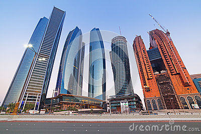 Etihad Towers buildings in Abu Dhabi at dusk Editorial Stock Image