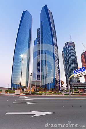 Etihad Towers buildings in Abu Dhabi at dusk Editorial Photo