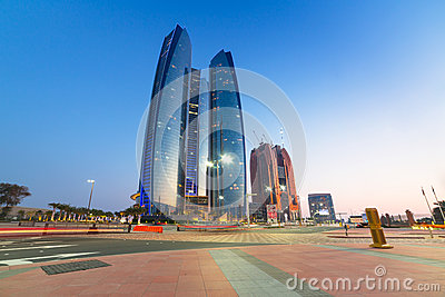 Etihad Towers buildings in Abu Dhabi at dusk Editorial Stock Photo