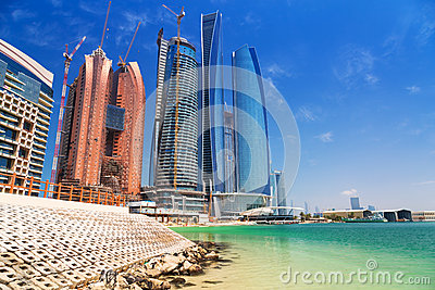 Etihad Towers buildings in Abu Dhabi, UAE Editorial Photography