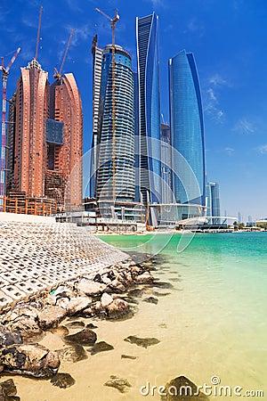 Etihad Towers buildings in Abu Dhabi, UAE Editorial Photography