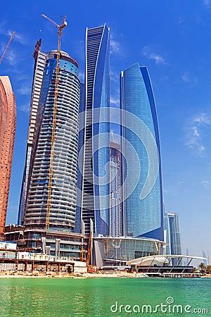 Etihad Towers buildings in Abu Dhabi, UAE Editorial Stock Photo