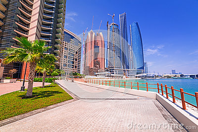 Etihad Towers buildings in Abu Dhabi, UAE Editorial Image