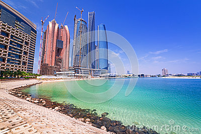 Etihad Towers buildings in Abu Dhabi, UAE Editorial Photo