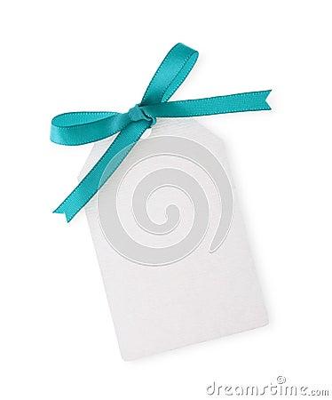 Etiqueta del regalo con el arqueamiento verde de la cinta