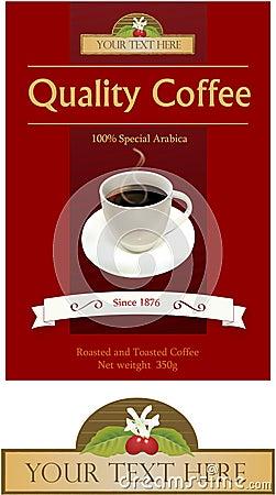 Etiqueta e logotipo para o tipo do café