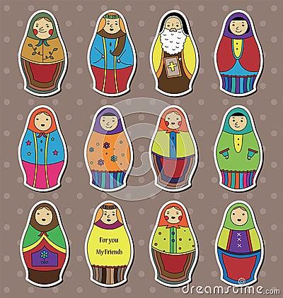 Etiquetas das bonecas do russo