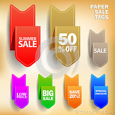 Etiquetas de papel de la venta del vector