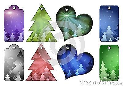 Etiquetas del regalo de la Navidad de diversas formas.