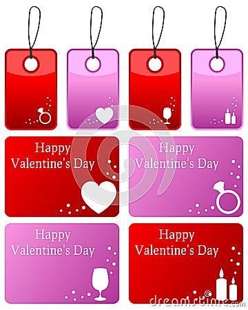 Etiquetas del regalo del día de tarjetas del día de San Valentín fijadas