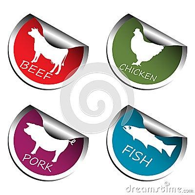 Etiquetas engomadas de la carne