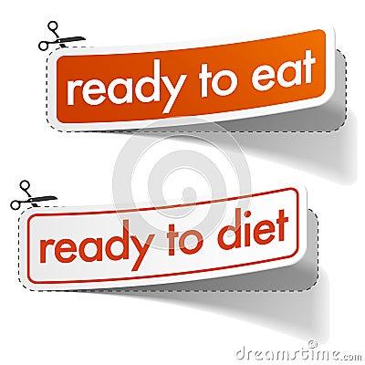 Etiquetas engomadas preparadas y de la dieta fijadas