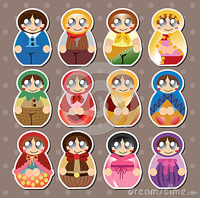 Etiquetas engomadas rusas de las muñecas