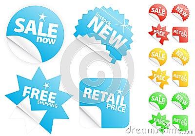 Etiquetas modernas lustrosas na venda/tema de varejo