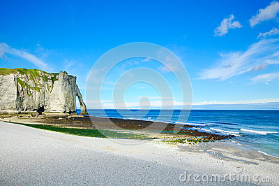 Etretat Aval cliff landmark. Normandy, France.