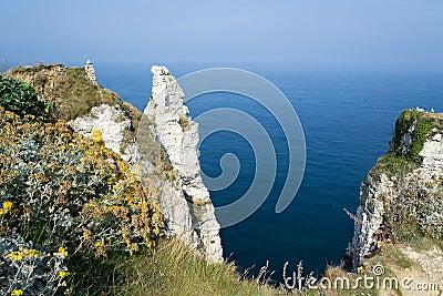 etretat cliff in normandy coast