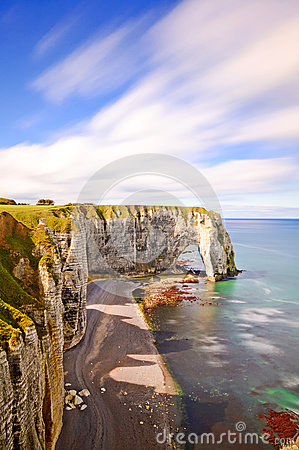 Etretat, Manneporte rock arch. Normandy, France