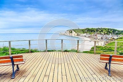Etretat panoramic view landmark, balcony, beach and village. Normandy, France.