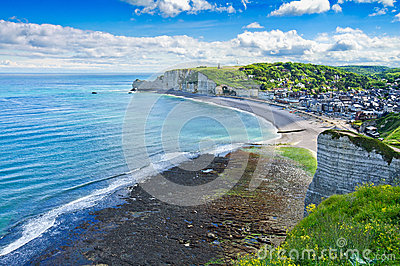 Etretat village. Aerial view. Normandy, France.