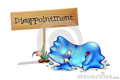 Ett besviket gigantiskt framme av en träsignage