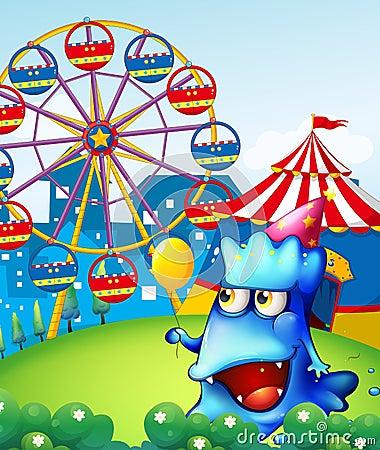 Ett monster på bergstoppet med en karneval
