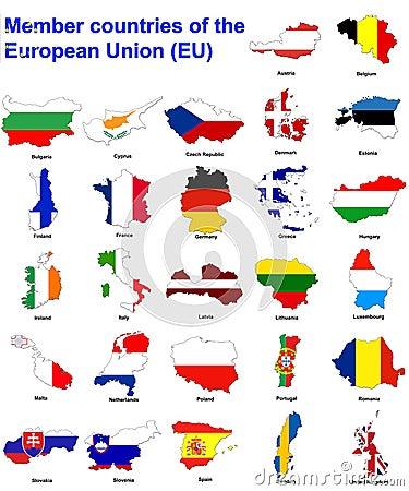 Free EU Countries Flag Maps Stock Image - 4652431
