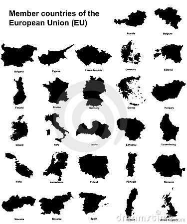 EU countries silhouettes