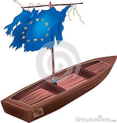 Eu flag boat