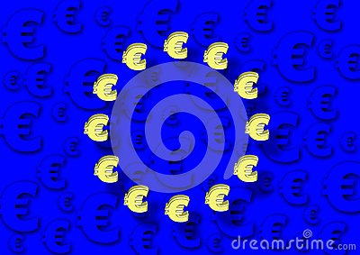 EU flag and euro
