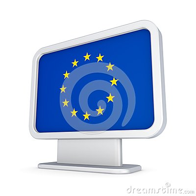 EU flag in a lightbox.
