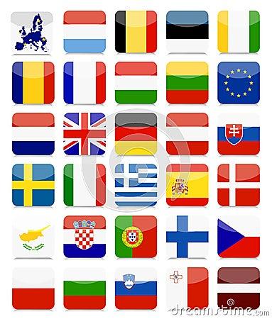 Free EU Flags Flat Square Icon Set Royalty Free Stock Image - 65107946
